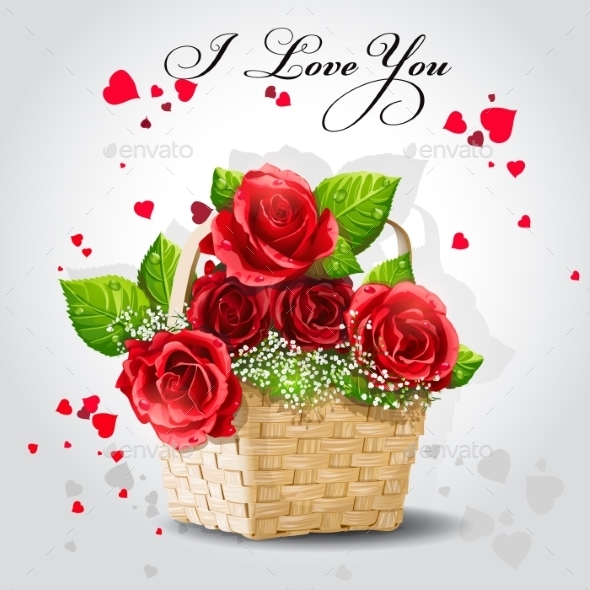 GraphicRiver Red Roses in a Basket 9703003