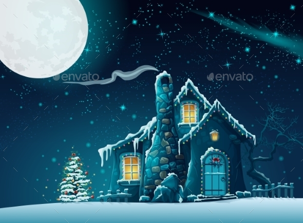 GraphicRiver Illustration of Christmas Night 9703015