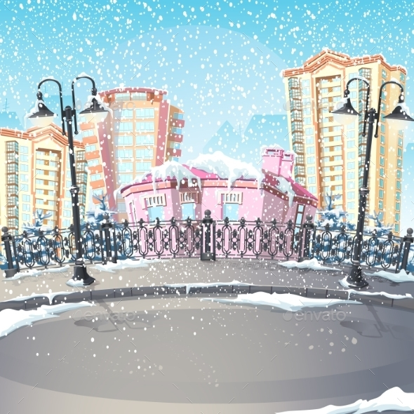 GraphicRiver Illustration of a Winter City 9703060