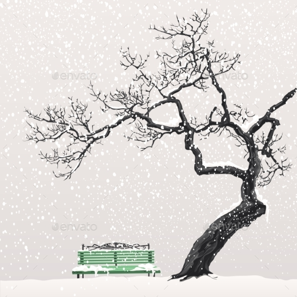 GraphicRiver Illustration of a Winter Landscape with a Tree 9703159