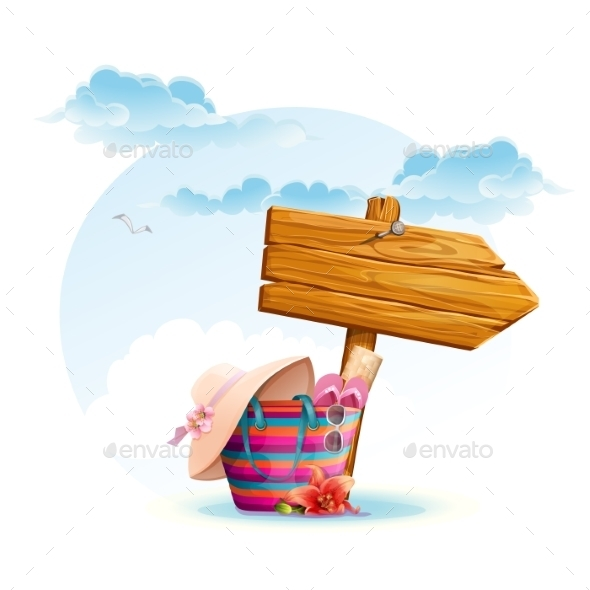 GraphicRiver Beach Bag with a Wooden Pointer 9703182