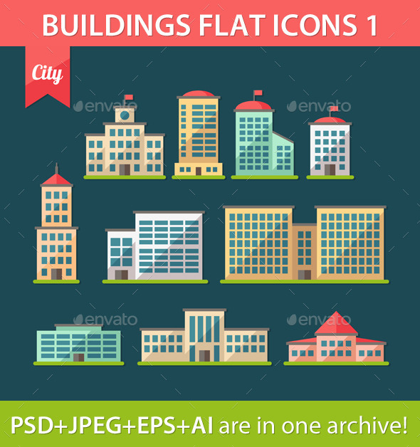 GraphicRiver Set of Flat Design Buildings Icons 9685329