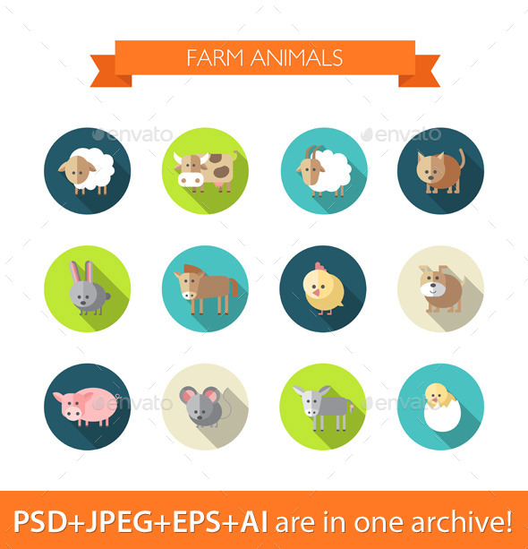 GraphicRiver Set of Flat Farm Animals Icons 9685320