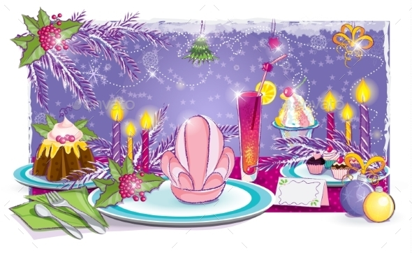 Illustration of a Festive Table for the New Year