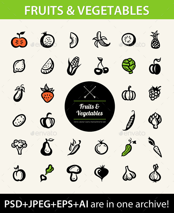 GraphicRiver Fruit and Vegetable Icons 9685273