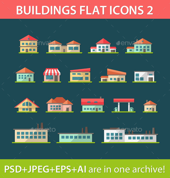 GraphicRiver Set of Flat Design Building Pictograms 9685199