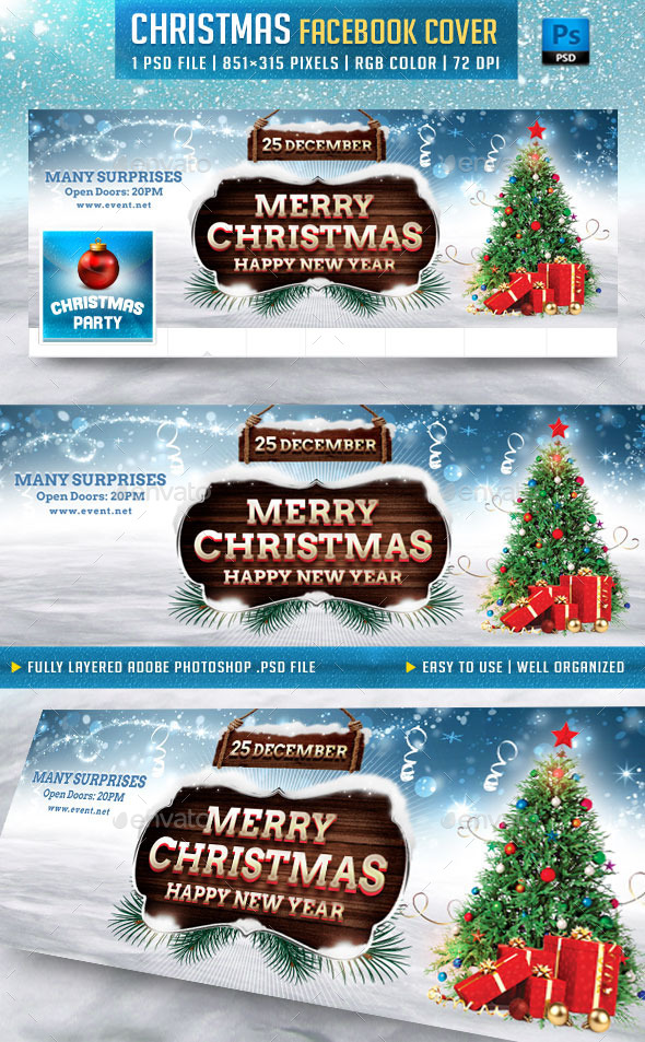 GraphicRiver Merry Christmas Facebook Cover 9703265