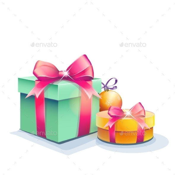 Image of Gift Boxes and Christmas Tree Ball