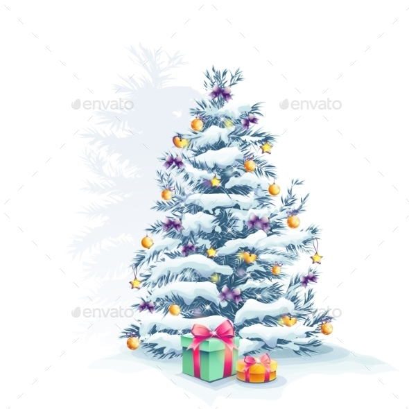 Image of a Christmas Tree with Toys and Gifts