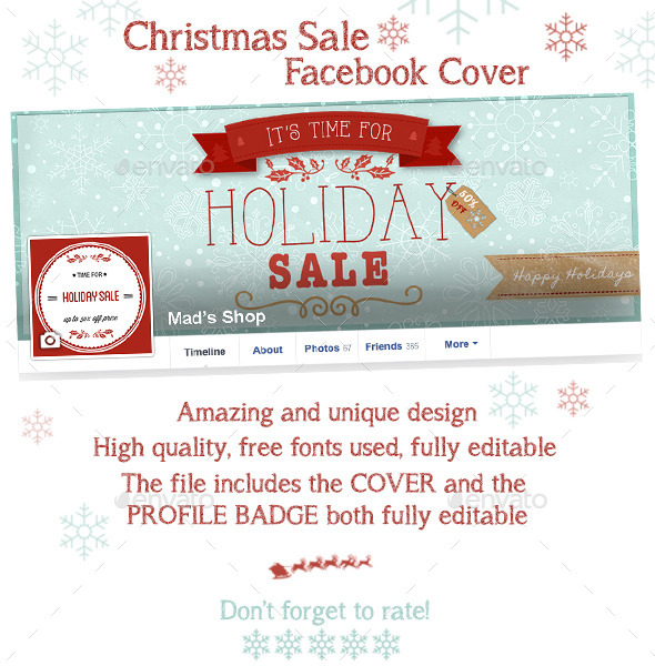 GraphicRiver Christmas Sale Facebook Cover 9703593