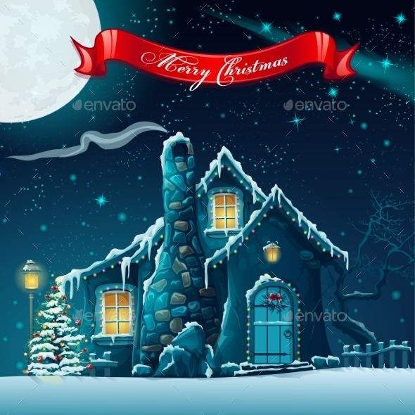 GraphicRiver Greeting Card with a Christmas Tree and House 9704221