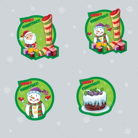 GraphicRiver Set of Christmas Labels 9704229