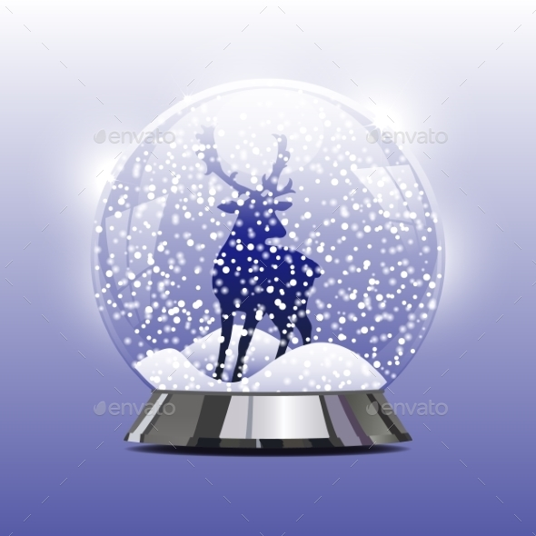 GraphicRiver Snow Globe with a Christmas Deer 9704650