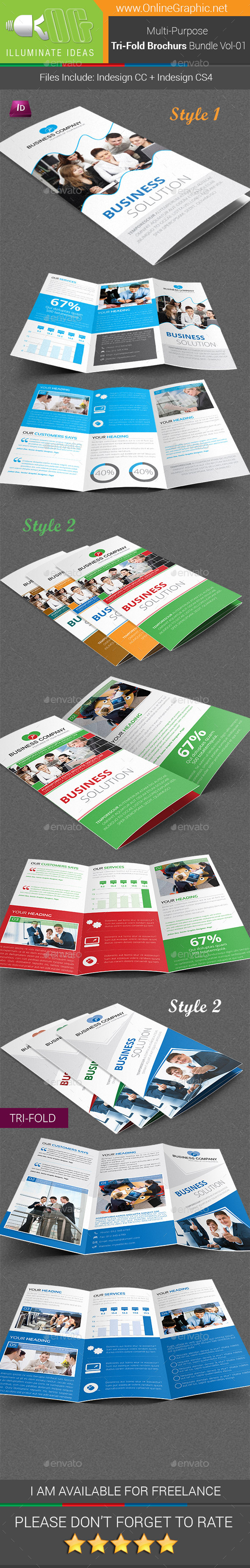 GraphicRiver Multipurpose Tri-Fold Brochures Bundle Vol-01 9705446