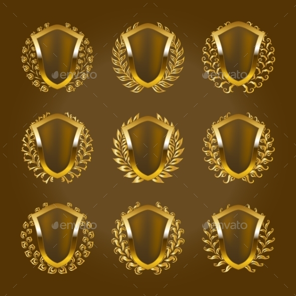 GraphicRiver Golden Shields with Laurel Wreath 9705736