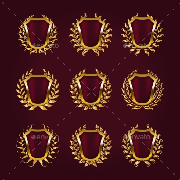 GraphicRiver Golden Shields with Laurel Wreath 9705737