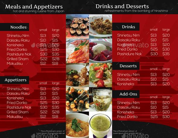japanese restaurant brochure bifold template by isshiah