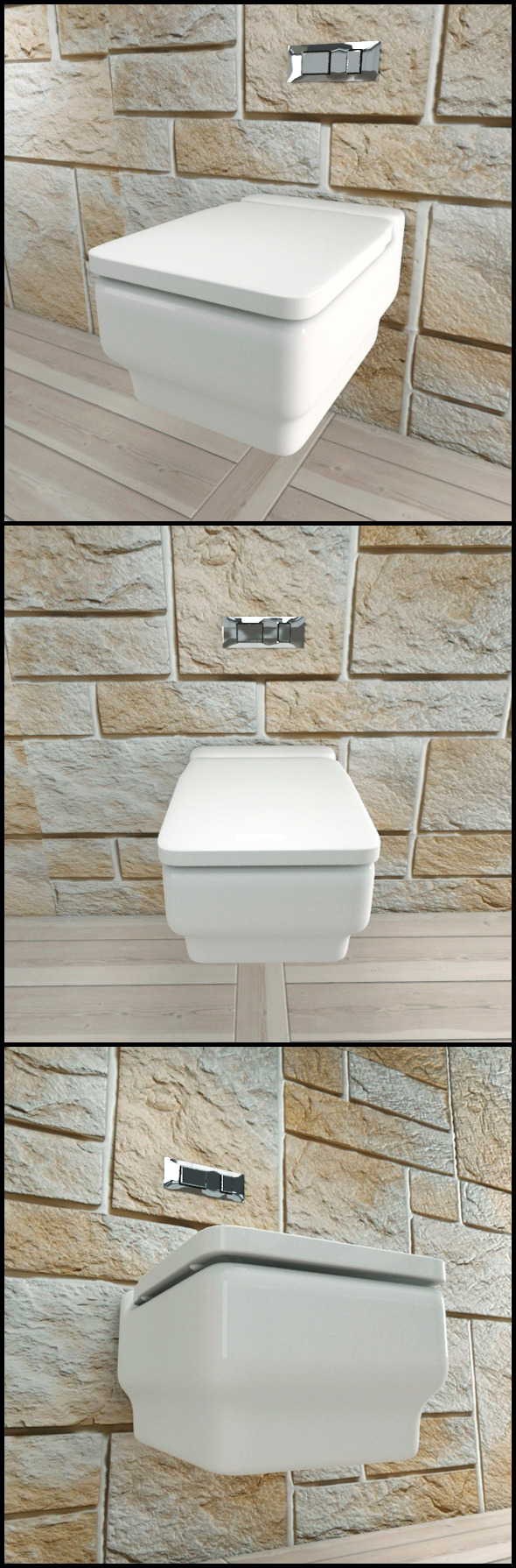 3DOcean White Ceramic Toilet with Chrome Flush Plate 9706062