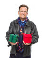 Man Wearing Leather Jacket and Holiday Scarf Holding Christmas Gift Isolated on White - PhotoDune Item for Sale