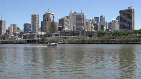 City Ferry With The Skyline In The Background In Brisbane