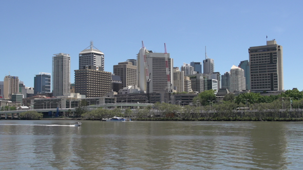 VideoHive Small Speedboat In Front Of The Brisbane Skyline 9706173