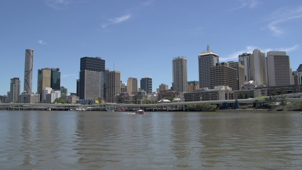 VideoHive City Ferry In Front Of The Brisbane Skyline 9706174