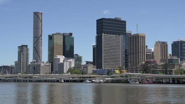 VideoHive Ferry Arriving With Brisbane Skyline On The Background 9706178