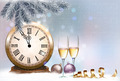 Holiday retro background with champagne glasses and clock. Happy New Year. - PhotoDune Item for Sale