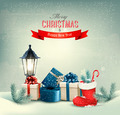 Holiday Christmas background with gift boxes and a boot.  - PhotoDune Item for Sale