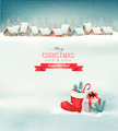 Holiday Christmas background with a village, a boot and a gift box.  - PhotoDune Item for Sale
