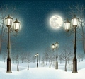 Christmas evening winter landscape with lampposts.  - PhotoDune Item for Sale