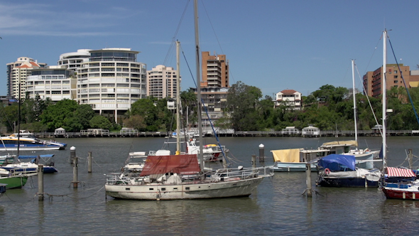 VideoHive Ferry Passing By At The Brisbane River 9706226