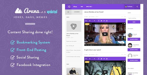 Aruna - Retina Content Sharing, Gag, Meme Theme - Entertainment WordPress