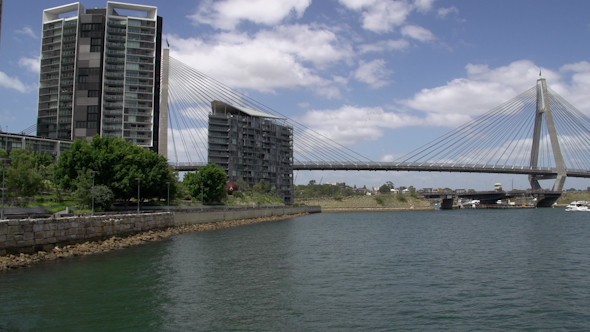 VideoHive Pan From The The Anzac Bridge In Sydney 9706319