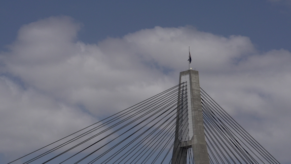 VideoHive Airplane Flying By The Anzac Bridge In Sydney 9706320
