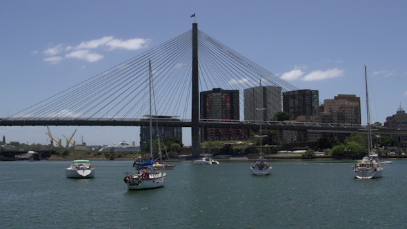 VideoHive The Anzac Bridge In Sydney With Boats In Front Of It 9706324
