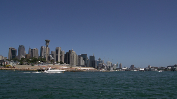 VideoHive On A Ferry With The Skyline Of Sydney With Boats Passing By 9706349