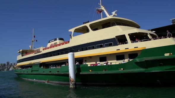 VideoHive Big Ferry Leaving Circular Quay Harbor In Sydney 9706353