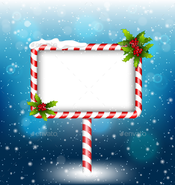 GraphicRiver Candy Cane Billboard With Holly Sprigs in Snowfall 9706352