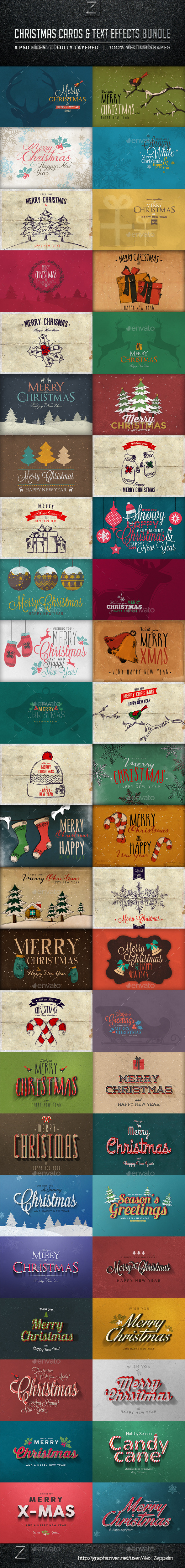 GraphicRiver Christmas Cards & Text Effects Bundle 9706360