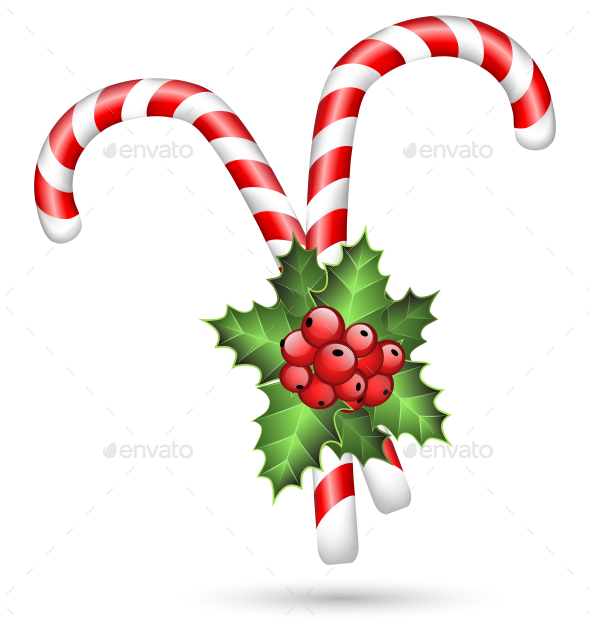 GraphicRiver Two Candy Canes with Holly Sprig Isolated on White 9706383