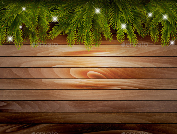 GraphicRiver Christmas Wooden Background with Branches 9706735