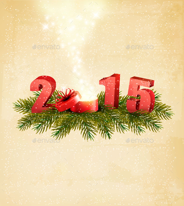 GraphicRiver Holiday Background with a Present and 2015 9706744