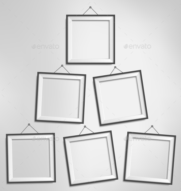 GraphicRiver Six Black Modern Blank Frames Isolated on Gray 9706746