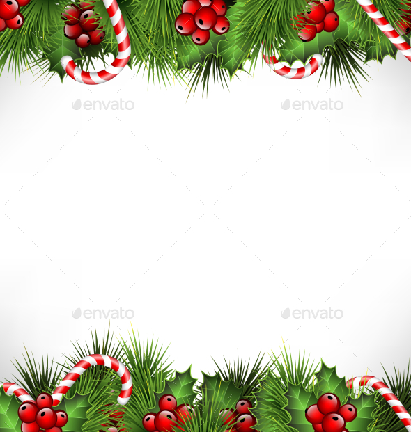 GraphicRiver Holly Sprigs with Pine Branches and Candy Canes 9706750