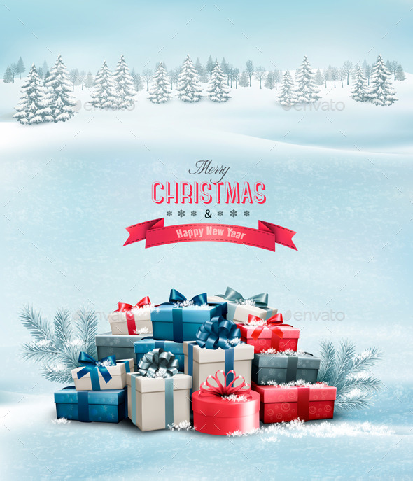 GraphicRiver Holiday Christmas Background with Gift Boxes 9706752