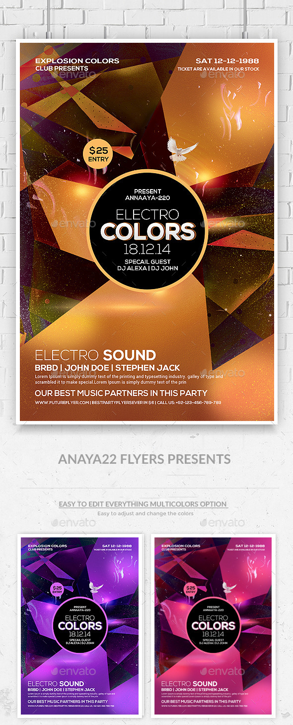 GraphicRiver Electro Sound Futuristic Flyer Psd Template 9706755
