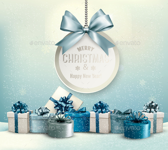 GraphicRiver Merry Christmas Card with a Ribbon and Gift Boxes 9706793