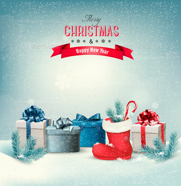 GraphicRiver Holiday Christmas Background with Gift Boxes 9706827
