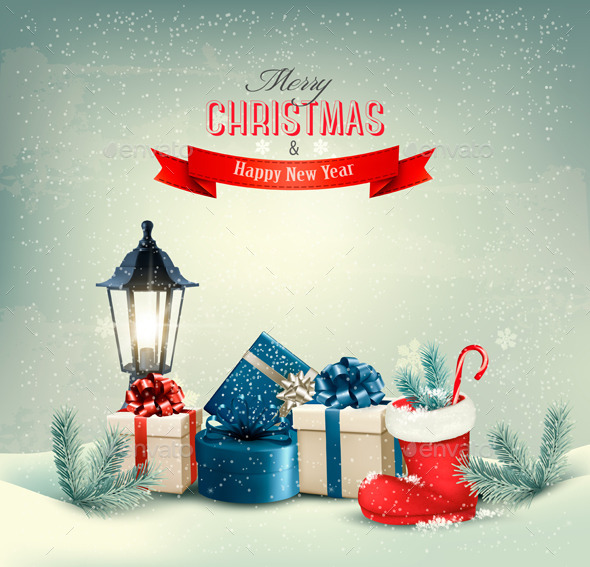 GraphicRiver Holiday Christmas Background with Gift Boxes 9706870